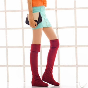 SGESVIER Women Boots Winter Autumn Fashion Flat Bottom Boots Shoes Over The Knee High Leg Suede Long Red / 4