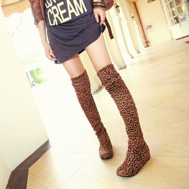 SGESVIER Women Boots Winter Autumn Fashion Flat Bottom Boots Shoes Over The Knee High Leg Suede Long Yellow Leopard / 4