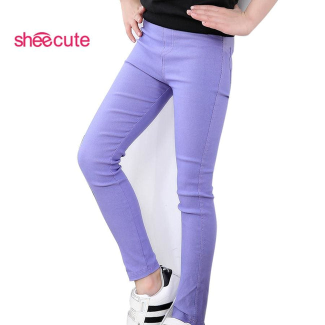 sheecute girls pants childrens candy color pencil pants Kids skinny full length trousers for 3-12Y - MBMCITY