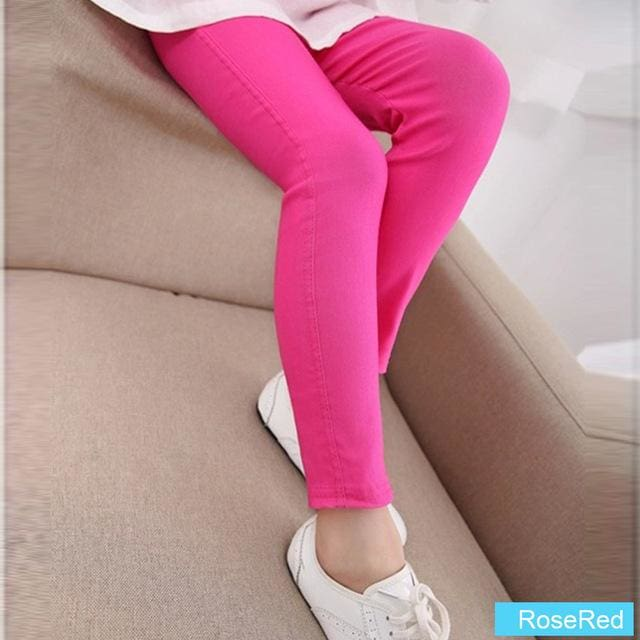 sheecute girls pants childrens candy color pencil pants Kids skinny full length trousers for 3-12Y