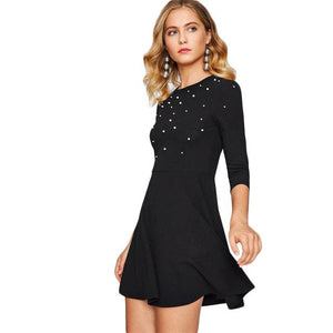 Sheinside Pearl Embellished Party Dress Zip Fit & Flare Women Black 3/4 Sleeve Skater Dresses 2017