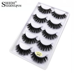 Shidishangpin 5 Pairs Mink Eyelashes Natural Long Makeup False Eyelashes 3D Mink Lashes 1Cm-1.5Cm