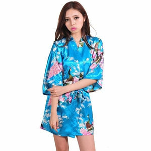Silk Satin Wedding Bride Bridesmaid Robe Floral Bathrobe Short Kimono Robe Night Robe Bath Robe - MBMCITY