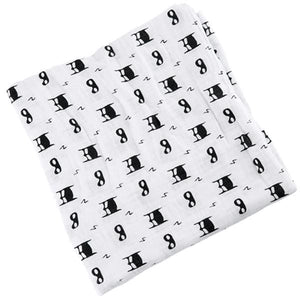 [Simfamily] 1Pc Muslin 100% Cotton Baby Swaddles Soft Newborn Blankets Black White Gauze Infant Wrap No8