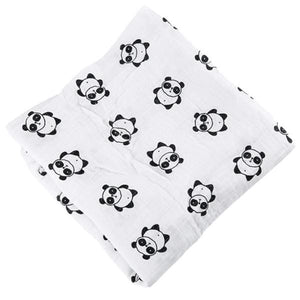 [Simfamily] 1Pc Muslin 100% Cotton Baby Swaddles Soft Newborn Blankets Black White Gauze Infant Wrap No1