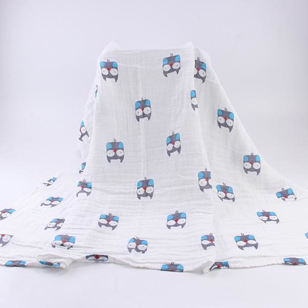 [Simfamily] 1Pc Muslin 100% Cotton Baby Swaddles Soft Newborn Blankets Black White Gauze Infant Wrap No19