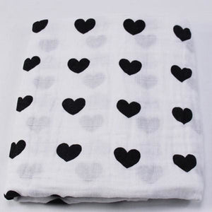 [Simfamily] 1Pc Muslin 100% Cotton Baby Swaddles Soft Newborn Blankets Black White Gauze Infant Wrap No15