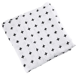 [Simfamily] 1Pc Muslin 100% Cotton Baby Swaddles Soft Newborn Blankets Black White Gauze Infant Wrap No7