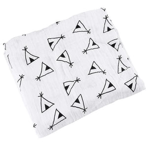 [Simfamily] 1Pc Muslin 100% Cotton Baby Swaddles Soft Newborn Blankets Black White Gauze Infant Wrap No13