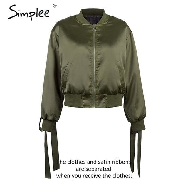 Simplee Basic army green bomber jacket coat women Satin lace up pocket biker jacket outerwear Autumn - MBMCITY