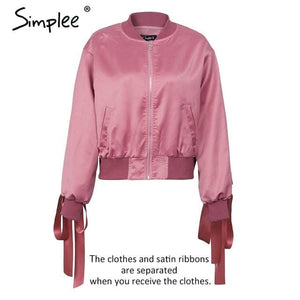 Simplee Basic army green bomber jacket coat women Satin lace up pocket biker jacket outerwear Autumn