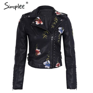 Simplee Embroidery floral faux leather jacket White basic jackets outerwear coats Women casual Black / S