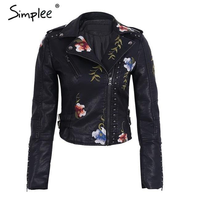 Simplee Embroidery floral faux leather jacket White basic jackets outerwear coats Women casual