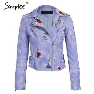 Simplee Embroidery floral faux leather jacket White basic jackets outerwear coats Women casual Purple / S