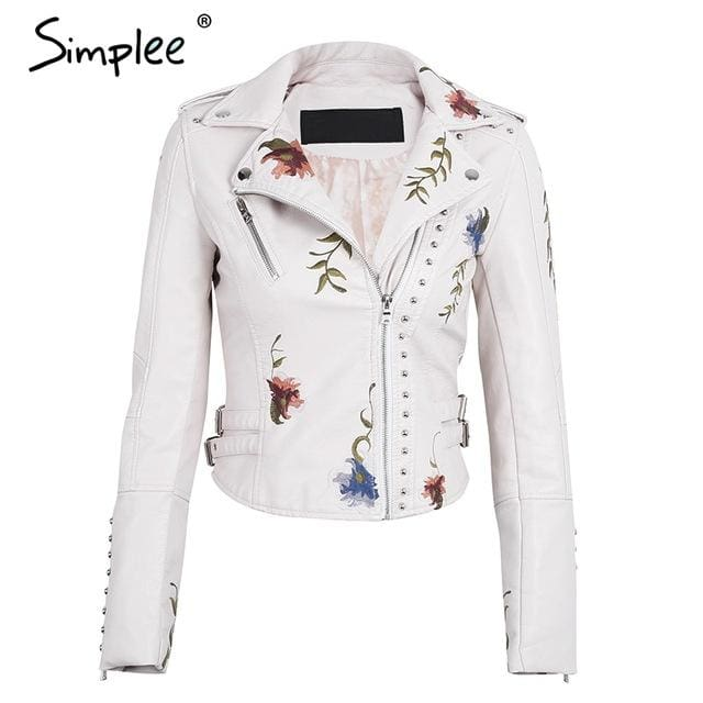 Simplee Embroidery floral faux leather jacket White basic jackets outerwear coats Women casual Creamy White / S