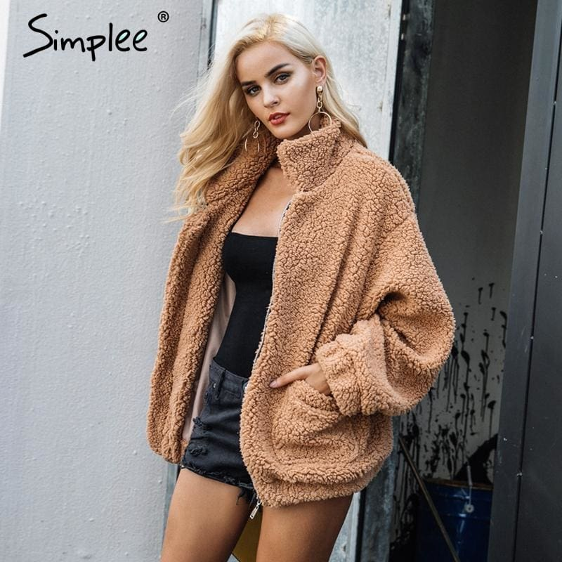 Simplee Faux Lambswool Oversized Jacket Coat Winter Black Warm Hairly Jacket Women Autumn Outerwear