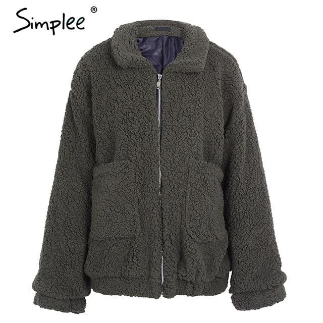 Simplee Faux Lambswool Oversized Jacket Coat Winter Black Warm Hairly Jacket Women Autumn Outerwear Brown / S