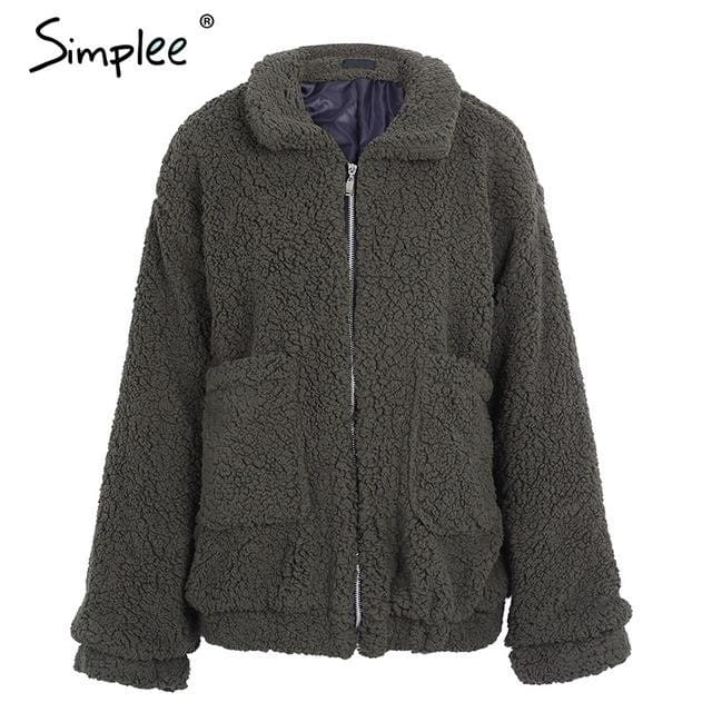 Simplee Faux Lambswool Oversized Jacket Coat Winter Black Warm Hairly Jacket Women Autumn Outerwear Dark Green / S