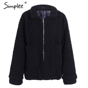 Simplee Faux lambswool oversized jacket coat Winter black warm hairly jacket Women autumn outerwear Black / S