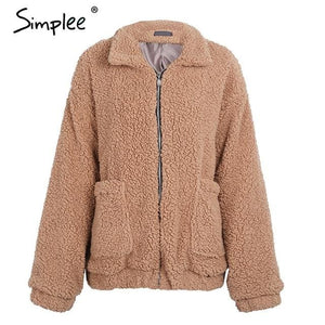 Simplee Faux Lambswool Oversized Jacket Coat Winter Black Warm Hairly Jacket Women Autumn Outerwear Light Camel / S