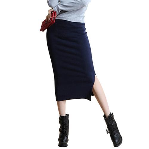 SIMPVALE Stretch Slim Step Skirts Womens Pencil Skirt High Elastic Package Hip Mid-Calf Solid Skirt Navy Blue / One Size / China