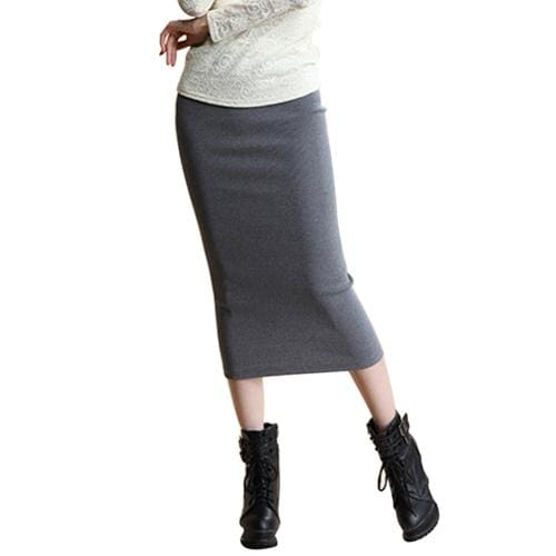 SIMPVALE Stretch Slim Step Skirts Womens Pencil Skirt High Elastic Package Hip Mid-Calf Solid Skirt Dark Gray / One Size / China