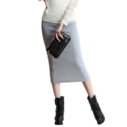 SIMPVALE Stretch Slim Step Skirts Womens Pencil Skirt High Elastic Package Hip Mid-Calf Solid Skirt Light Gray / One Size / China