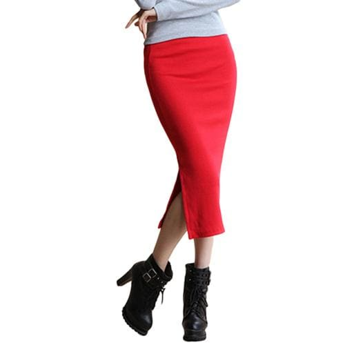 SIMPVALE Stretch Slim Step Skirts Womens Pencil Skirt High Elastic Package Hip Mid-Calf Solid Skirt Red / One Size / China