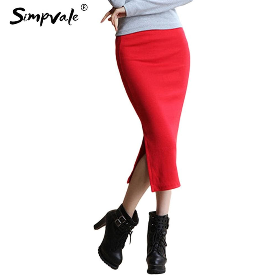 SIMPVALE Stretch Slim Step Skirts Womens Pencil Skirt High Elastic Package Hip Mid-Calf Solid Skirt