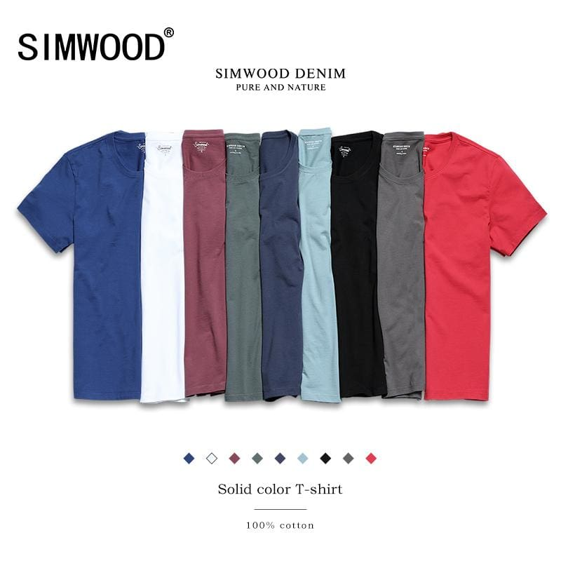 SIMWOOD 2018 New T Shirt Men Slim Fit Solid Color fitness Casual Tops 100%  Cotton Comfortable High - MBMCITY