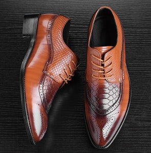 Size 47 48 Fashion Pu Leather Men Dress Shoes Pointed Toe Bullock Oxfords Shoes For Men Lace Up Orange / 6