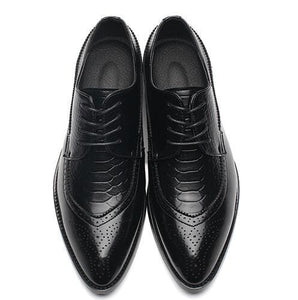 Size 47 48 Fashion PU Leather Men Dress Shoes Pointed Toe Bullock Oxfords Shoes For Men, Lace Up - MBMCITY