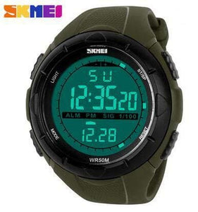 Skmei Brand 1025 Led Digital Mens Military Watch Men Sports Watches 5Atm Swim Climbing Fashion Green