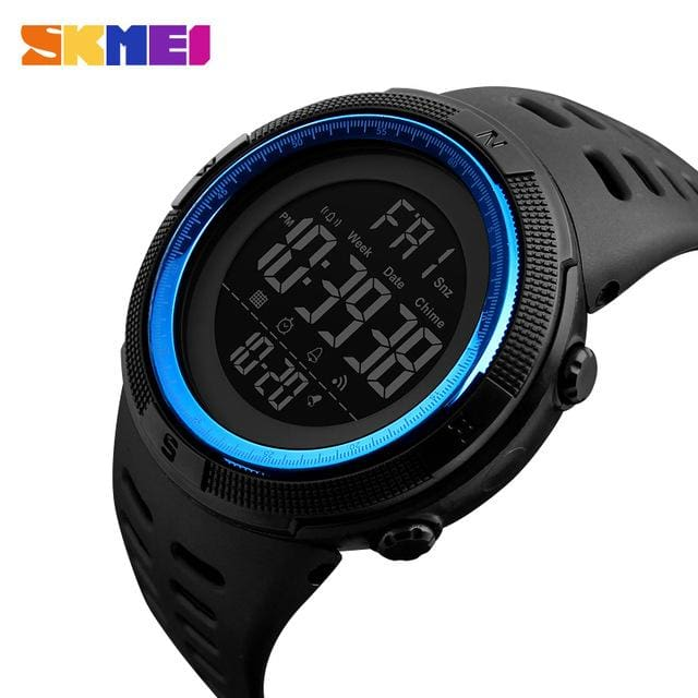 Skmei Chronograph Sports Watches Men Double Time Countdown Led Digital Watch Military Waterproof Black Blue