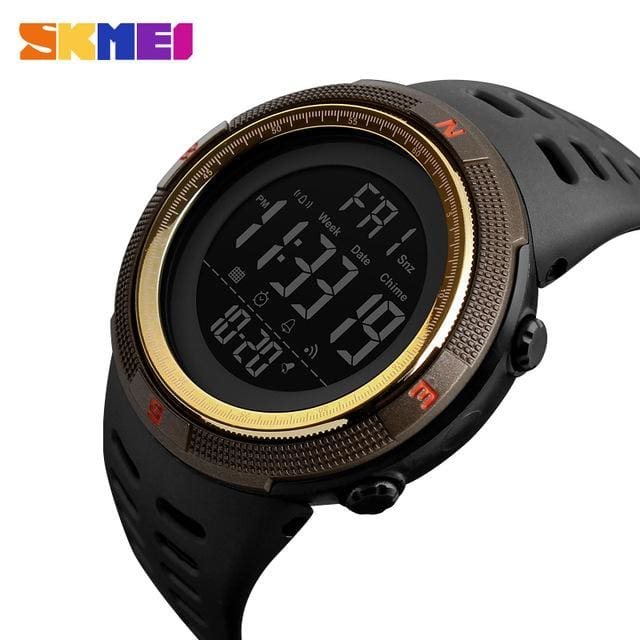 Skmei Chronograph Sports Watches Men Double Time Countdown Led Digital Watch Military Waterproof Brown Gold