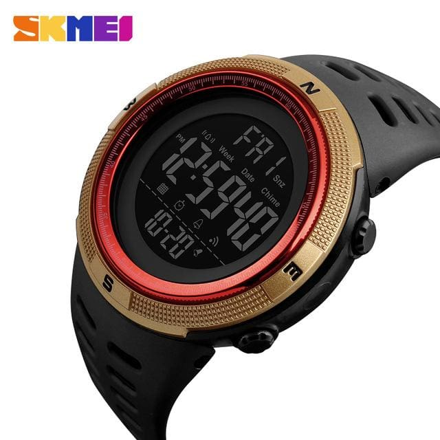 Skmei Chronograph Sports Watches Men Double Time Countdown Led Digital Watch Military Waterproof Gold Red