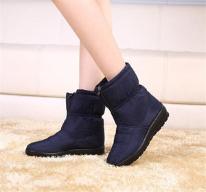 snow boots 2018 Winter warm waterproof women boots mother shoes casual cotton winter autumn boots CF1308W blue / 6