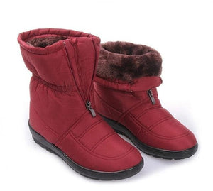snow boots 2018 Winter warm waterproof women boots mother shoes casual cotton winter autumn boots CF1308W red / 6