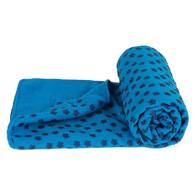 Soft Travel Sport Fitness Exercise Yoga Pilates Mat Cover Towel Blanket Non-Slip Sports Towel Blue