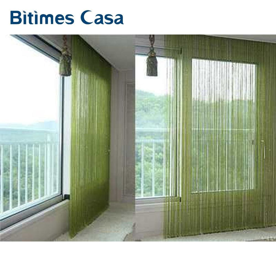 Solid Color Decorative String Curtain 300*300Cm Black White Beige Classic Line Curtain Window