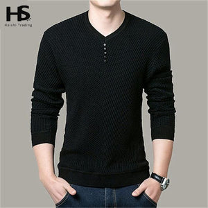 Solid Color Pullover Men V Neck Sweater Men Long Sleeve Shirt Mens Sweaters Wool Casual Dress Brand Black / S