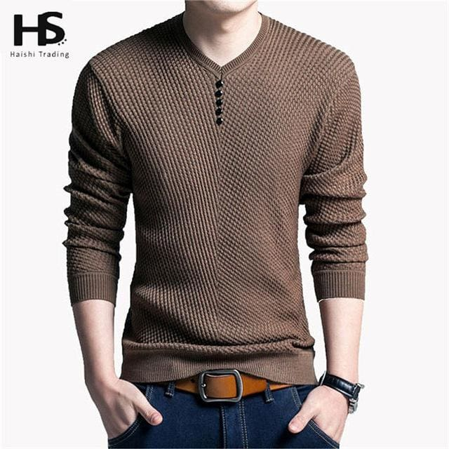 Solid Color Pullover Men V Neck Sweater Men Long Sleeve Shirt Mens Sweaters Wool Casual Dress Brand Khaki / S