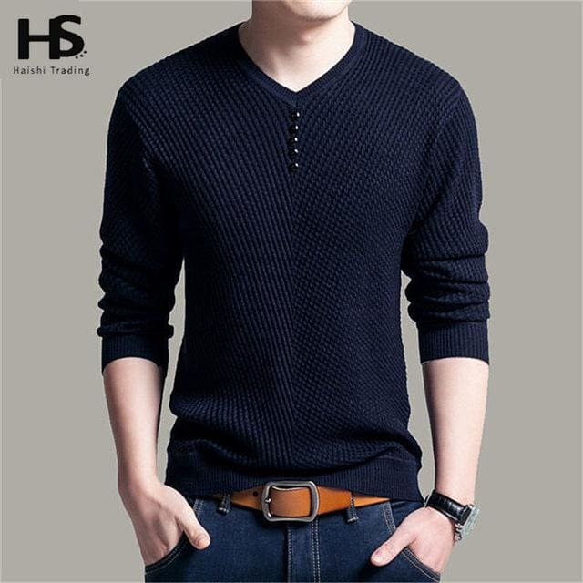 Solid Color Pullover Men V Neck Sweater Men Long Sleeve Shirt Mens Sweaters Wool Casual Dress Brand Navy Blue / S
