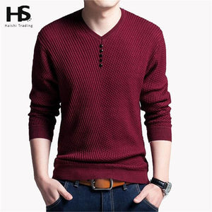 Solid Color Pullover Men V Neck Sweater Men Long Sleeve Shirt Mens Sweaters Wool Casual Dress Brand Red / S