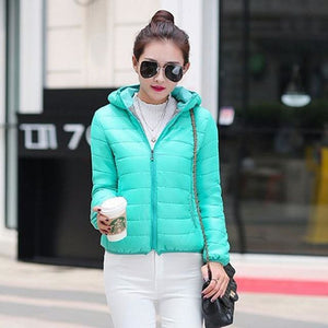 Solid Color Zipper Hooded Women Spring Jacket 2018 New Fashion Autumn Winter Slim Warm Ladies Coats Green / M