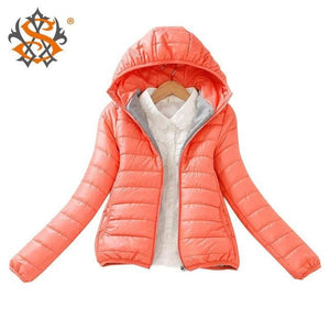 Solid Color Zipper Hooded Women Spring Jacket 2018 New Fashion Autumn Winter Slim Warm Ladies Coats Pink / M