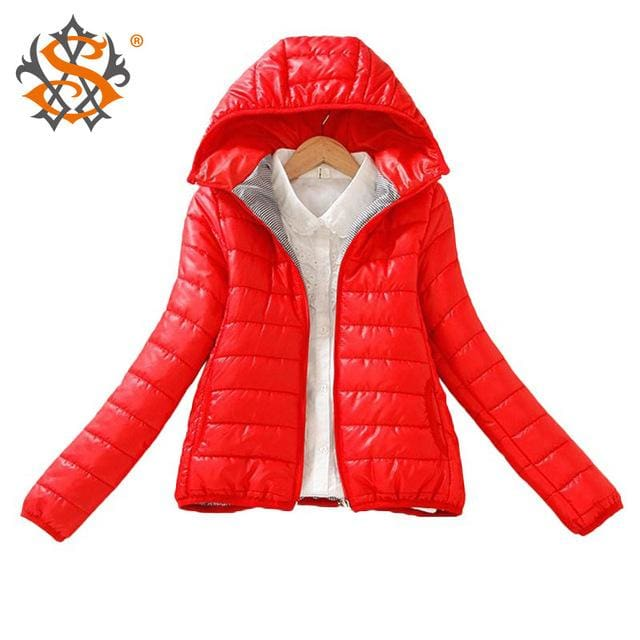 Solid Color Zipper Hooded Women Spring Jacket 2018 New Fashion Autumn Winter Slim Warm Ladies Coats Red / M