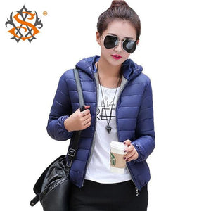 Solid Color Zipper Hooded Women Spring Jacket 2018 New Fashion Autumn Winter Slim Warm Ladies Coats Navy Blue / M