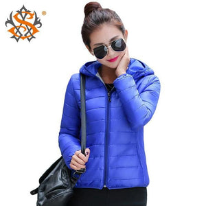 Solid Color Zipper Hooded Women Spring Jacket 2018 New Fashion Autumn Winter Slim Warm Ladies Coats Blue / M
