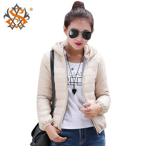 Solid Color Zipper Hooded Women Spring Jacket 2018 New Fashion Autumn Winter Slim Warm Ladies Coats Beige / M